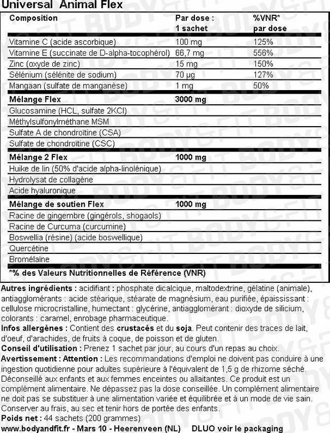 Animal Flex Nutritional Information 1