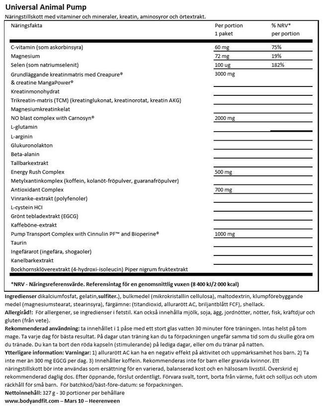 Animal Pump Nutritional Information 1