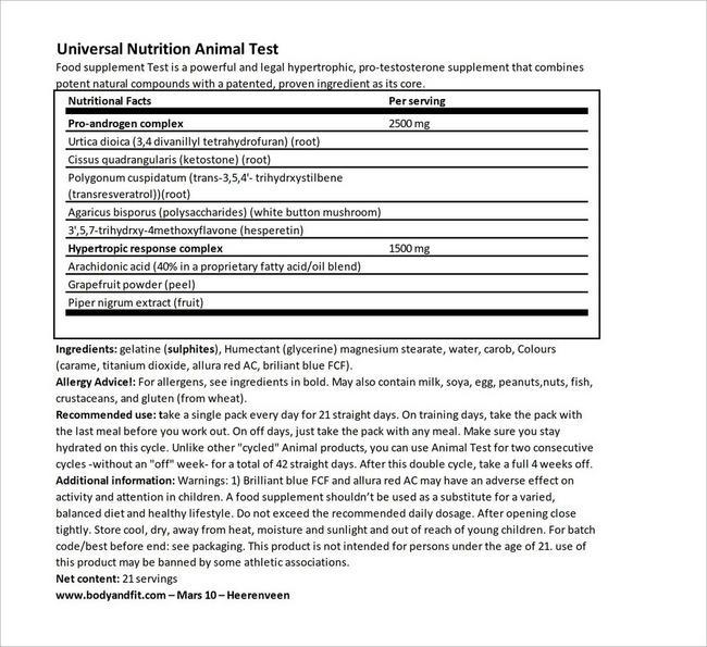 Animal Test Nutritional Information 4