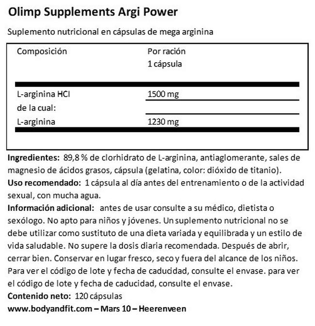 Argi Power Nutritional Information 1