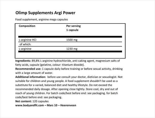 アルギパワー Nutritional Information 1