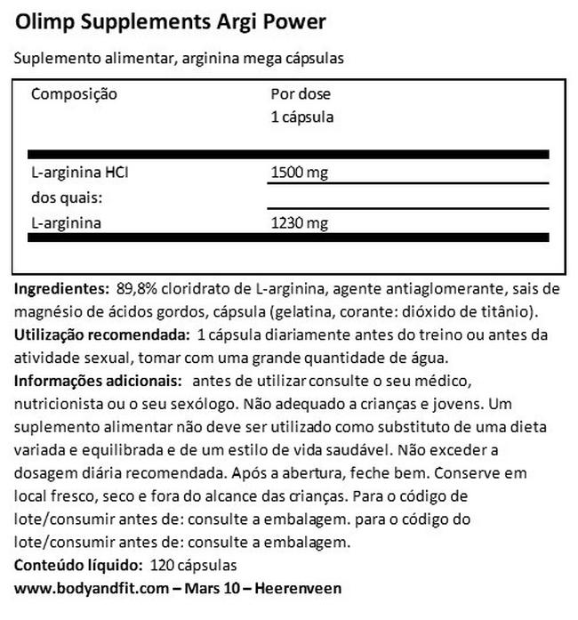 Argi Power Nutritional Information 1