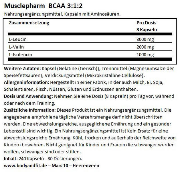BCAA 3:1:2 Caps Nutritional Information 1
