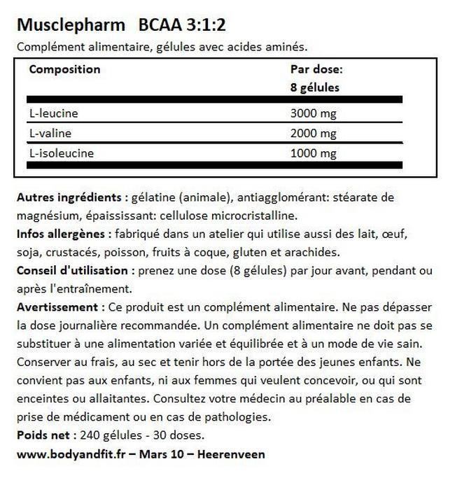 Gélules BCAA 3: 1: 2 Nutritional Information 1