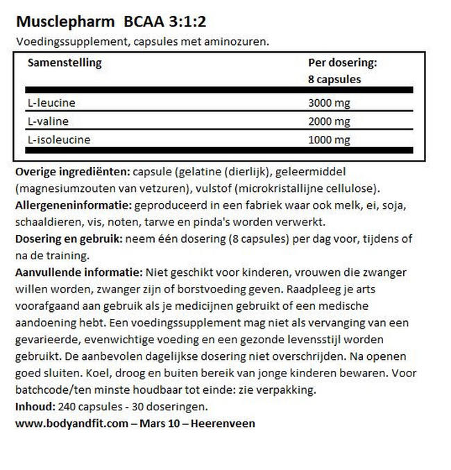 BCAA 3:1:2 Nutritional Information 1