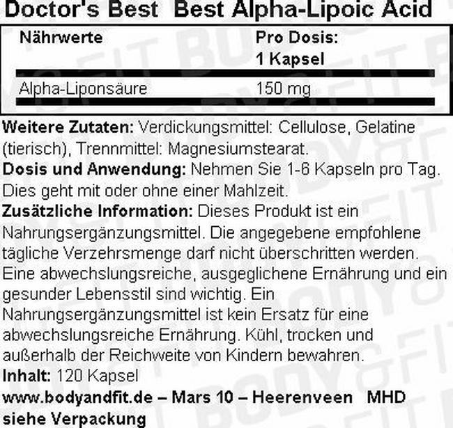 Best Alpha Lipoic Acid Nutritional Information 2