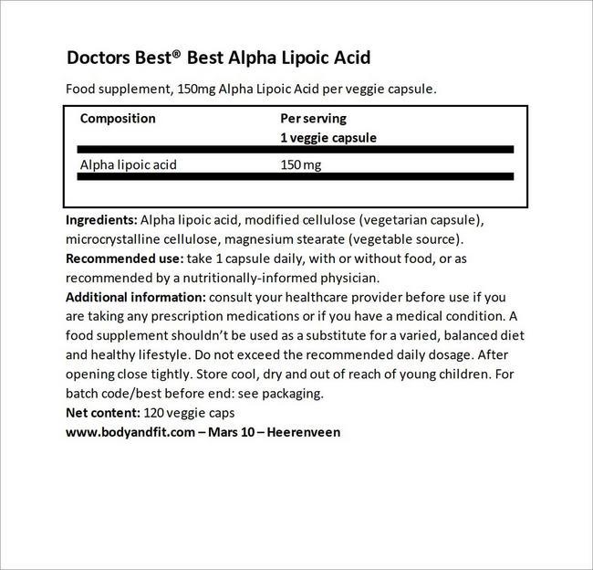 Best Alpha Lipoic Acid Nutritional Information 3