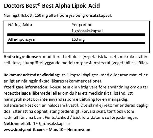 Best Alpha Lipoic Acid Nutritional Information 1
