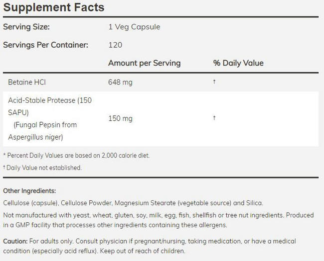 Betaine HCL Nutritional Information 4
