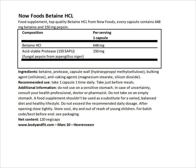 Betaine HCL Nutritional Information 5
