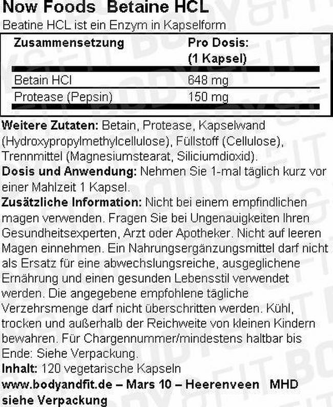 Betain HCL Nutritional Information 1