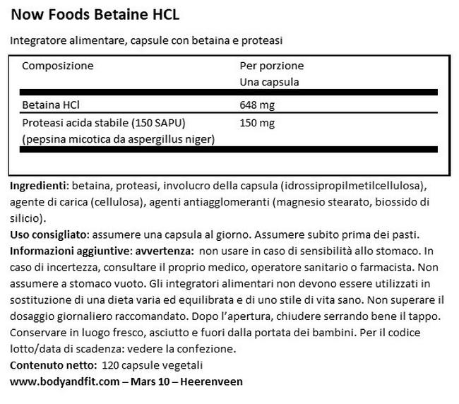 Betaine HCI Nutritional Information 1