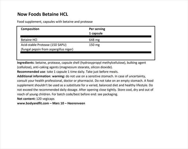 ベタインHCL Nutritional Information 1