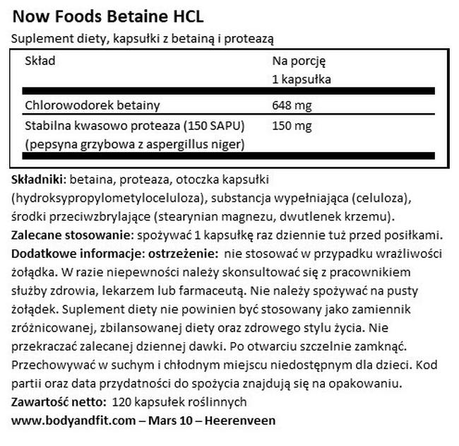 Betaina HCI Nutritional Information 1