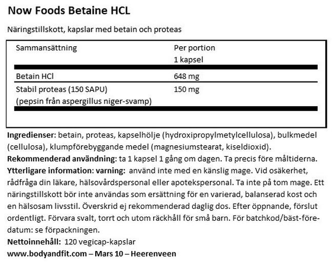 Betaine HCL Nutritional Information 1
