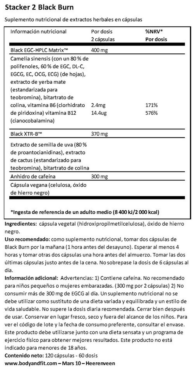 Black Burn Nutritional Information 1