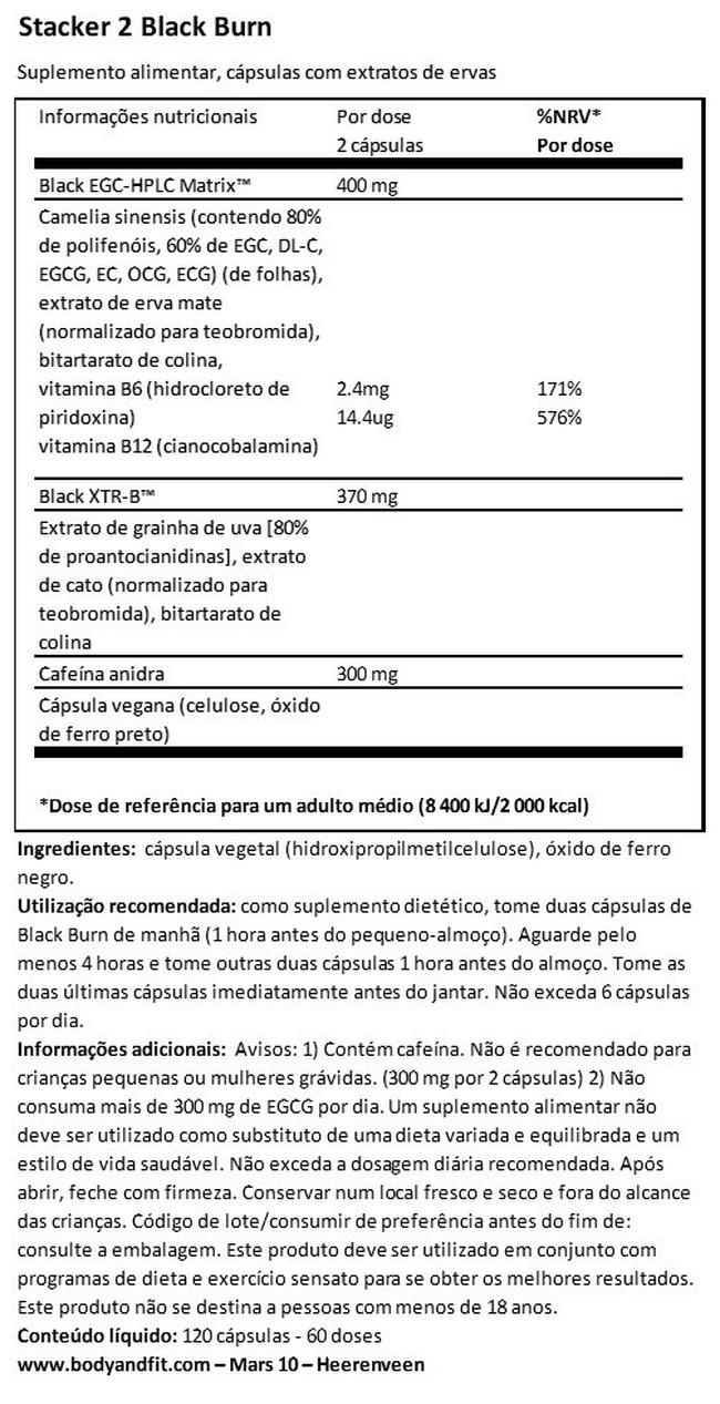 Black Burn. Nutritional Information 1