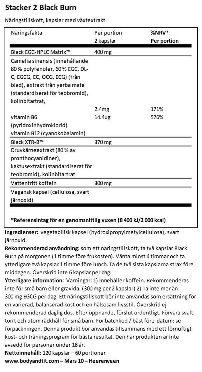 Black Burn Nutritional Information 1
