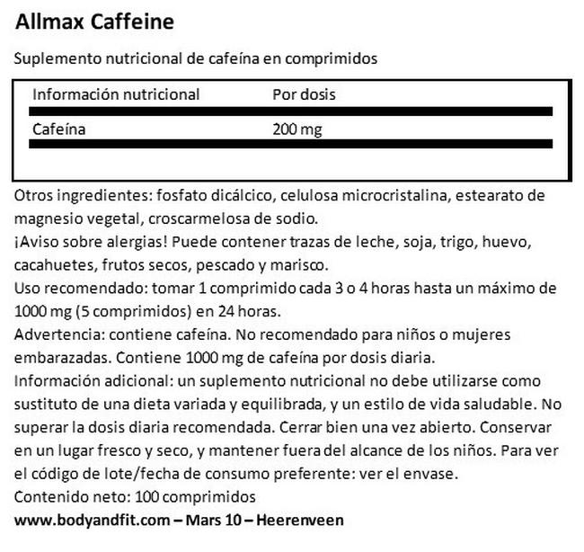 Tabletas de Cafeina 200mg Nutritional Information 1