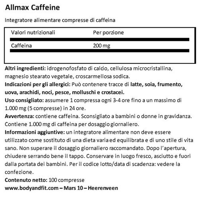 Caffeine Pills 200 mg Nutritional Information 1