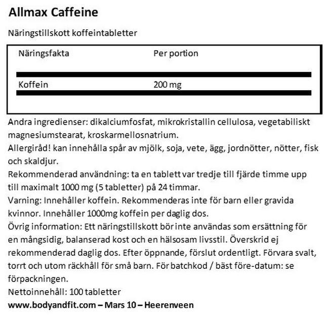 Caffeine Pills 200mg Nutritional Information 1