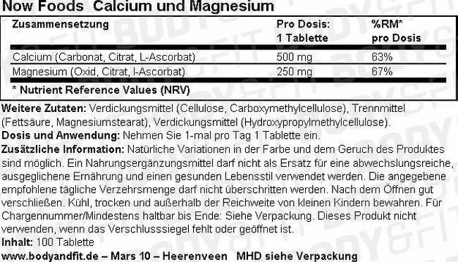 Calcium Magnesium Nutritional Information 1