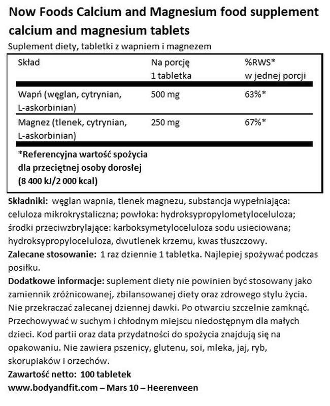 Wapń z magnezem Nutritional Information 1