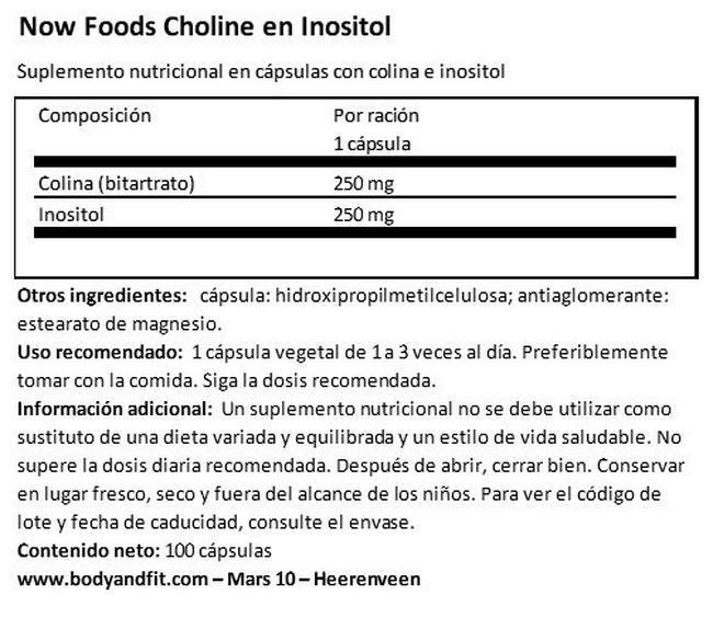 Choline and Inositol Nutritional Information 1