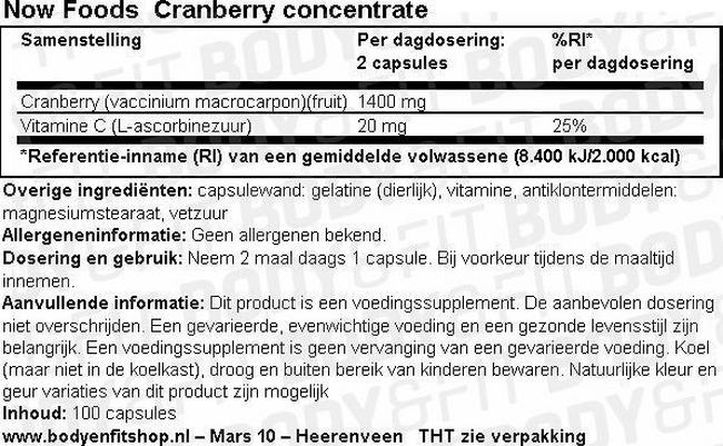 Cranberry Concentrate Nutritional Information 1