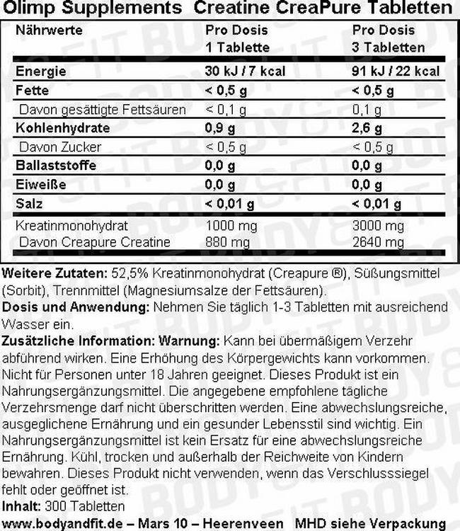 Creatine CreaPure Tabs Nutritional Information 1