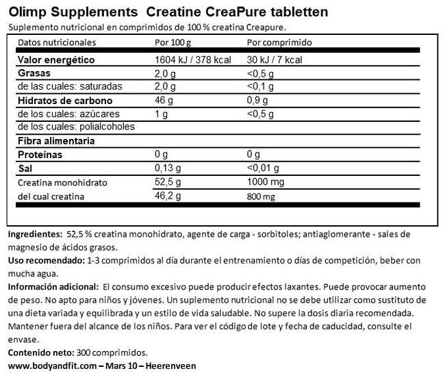 Creatine Creapure® Tablets Nutritional Information 1