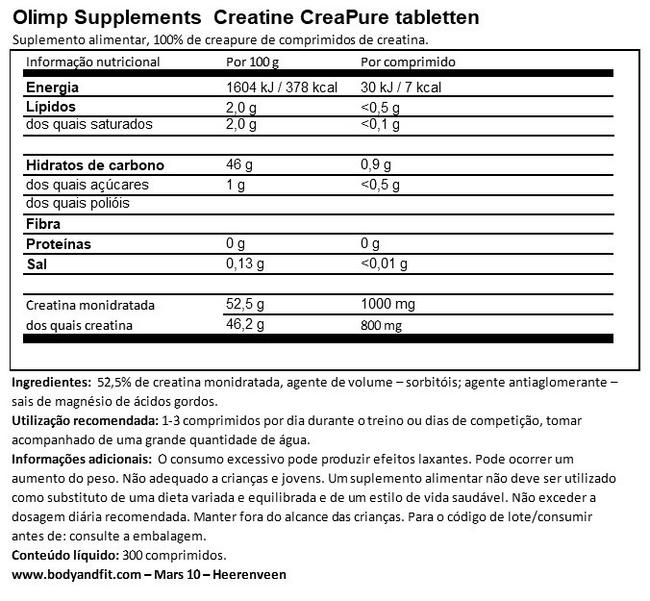 Pastilhas Creatine Creapure® Nutritional Information 1