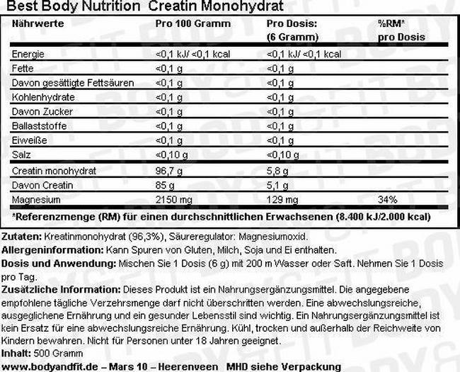 Creatin Monohydrat Nutritional Information 1