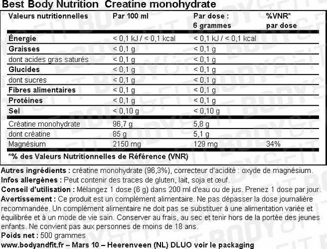 Creatine Monohydrate Nutritional Information 1