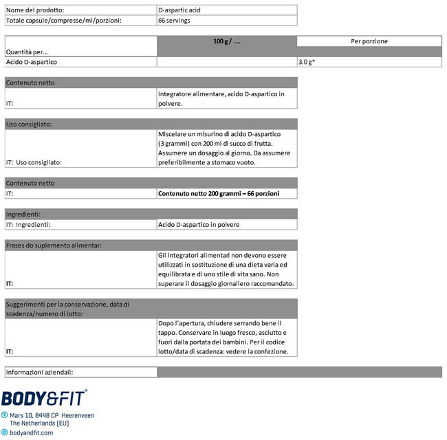 Acido D-aspartico Nutritional Information 1
