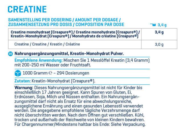 Creatine - CreaPure® (best creatine worldwide) Nutritional Information 1