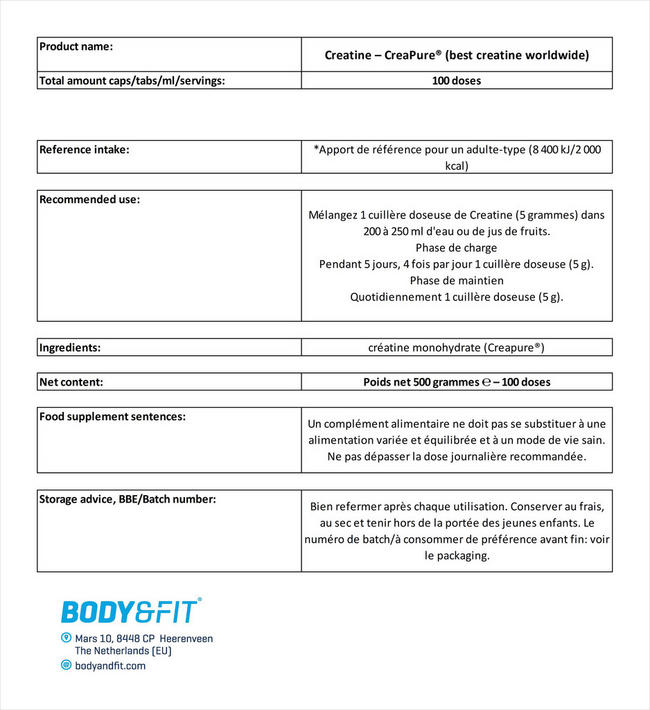 Creatine – Creapure® (best creatine worldwide) Nutritional Information 1