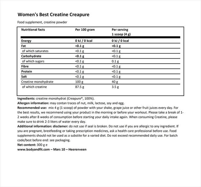 CreaPure® クレアチン Nutritional Information 1