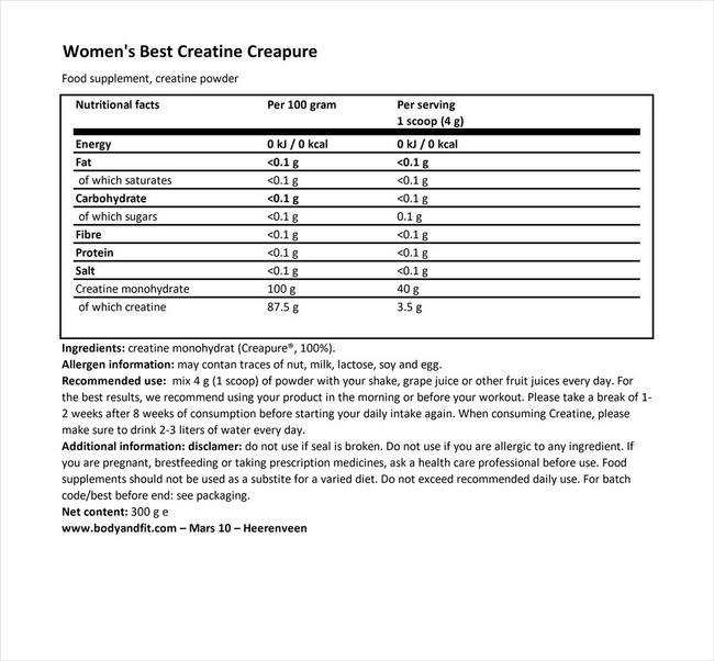 크레아퓨어® 크레아틴 Nutritional Information 1