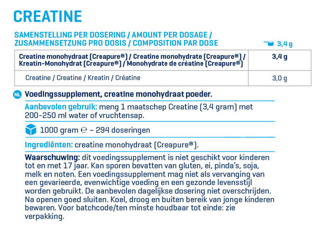 Creatine - Creapure® (best creatine worldwide) Nutritional Information 1