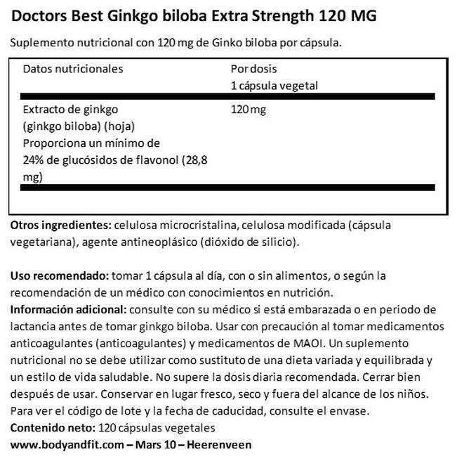Ginkgo Biloba Extra Strength 120 mg Nutritional Information 1