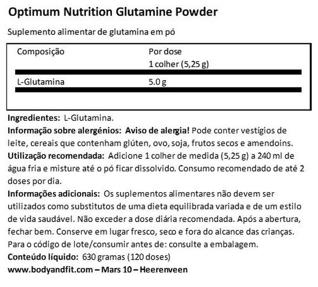 Glutamine powder Nutritional Information 1