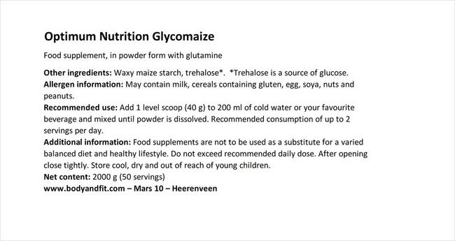 Glycomaize Nutritional Information 1