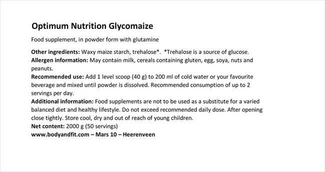글리코마이즈 Nutritional Information 1