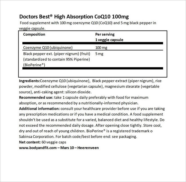 High Absorption CoQ10 100mg Nutritional Information 1