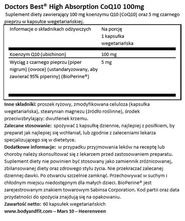 High Absorption CoQ10 100 mg Nutritional Information 1