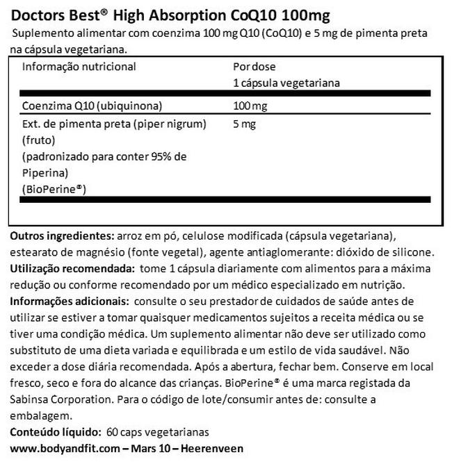 High Absorption CoQ10 100 mg Nutritional Information 1