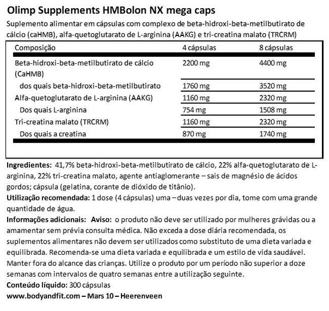 HMBolon NX Nutritional Information 1