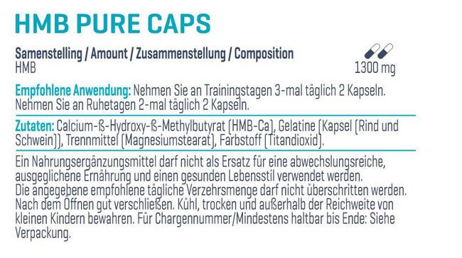 HMB Pure Caps Nutritional Information 1