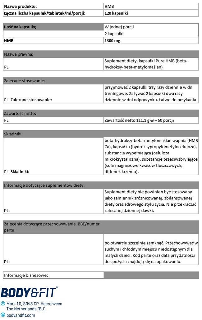 HMB Pure Nutritional Information 1